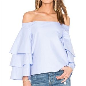 Tops - NWT Tiered Ruffle Top - Dusty Blue Size medium